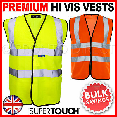 Yellow Hi Vis High Viz Visibility Vest Waistcoat Safety EN ISO 20471 Supertouch