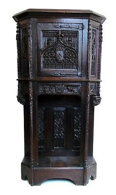 Stunning Antique Gothic Carved Antique Cabinet On Stand Rare
