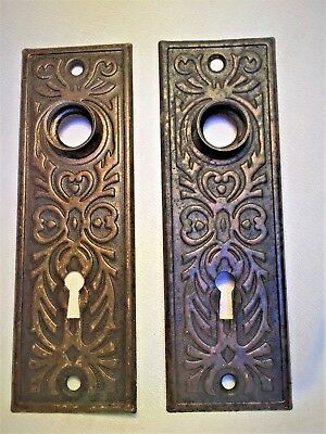 Antique Hardware, Door Plate, 1885, Brass, Ornate, Eastlake Style, Scrolling