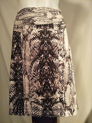 Jacqui-E Ladies Skirt in a Black Brown and Beige Animal Print - Size 14