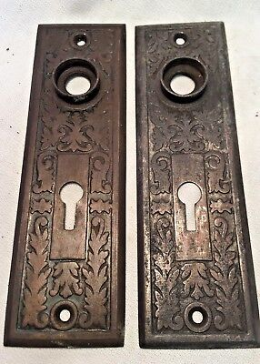 2pc set Antique Hardware, Door Plate, 1885, Brass, Ornate, Eastlake Style