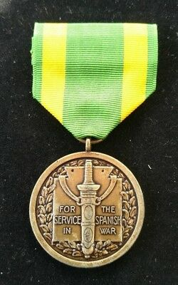 United States Usa Full Size For Service In The Spanish War Medal