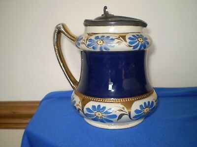 Vintage Pewter Lidded Jug Pottery