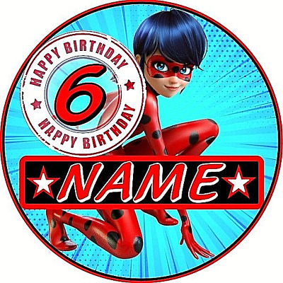 Miraculous Ladybug CHILDRENS PERSONALISED BIRTHDAY BADGE PARTY BAG fillers