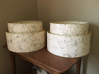 Pair of Mid Century Vintage Style 2 Tier Fiberglass Lamp Shades Atomic Retro MCM