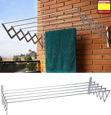 Tendedero extensible plegable metalico de pared en aluminio