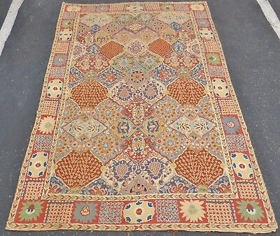Fine Antique 19th C Chainstitch Embroidered Kazakh Kashmir Wall Tapestry Rug