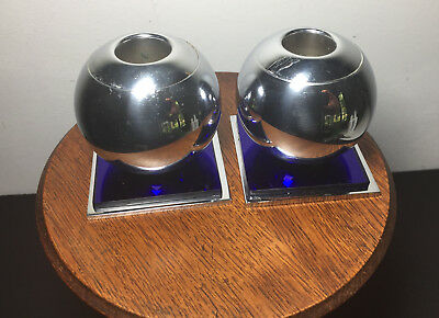 Vtg Chase Art Deco Chrome & Cobalt Blue Glass Candle Holders Pair