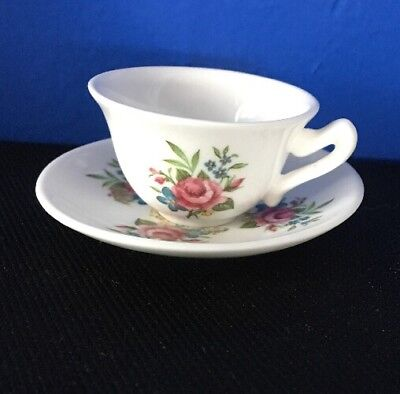 Vintage Crown Staffordshire England Limited Tea Cup And Saucer Set Floral Rose