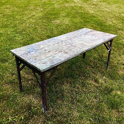 Vintage Rustic Farmhouse Wood Coffee Table w/ Cast Iron Legs - Shabby Chic Green