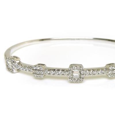 0.20 Tcw D Vs Round Cut 14k White Gold Gift New Diamond Fine Jewelry Good Diamond Bangle Bracelet