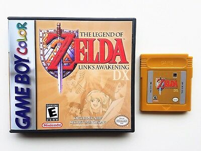 Legend of Zelda Link's Awakening DX  + Case Game Boy Color GBC - Gold Repro Cart