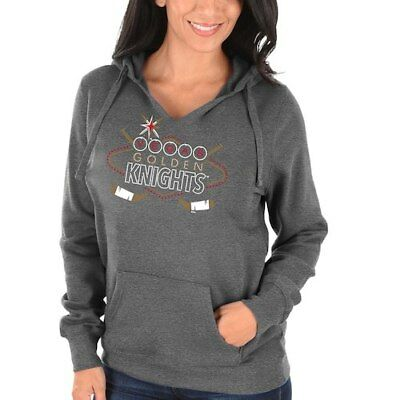 Majestic Vegas Golden Knights Women's Heathered Gray Las Vegas Fleece Pullover