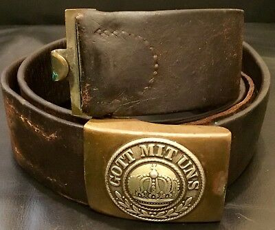 Imperial German, Pre-WW 1 Enlisted Man's Belt & Brass Buckle, Kingdom of Prussia