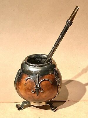 Yerba Mate Gourd and 18K Gold Tip Straw Bombilla
