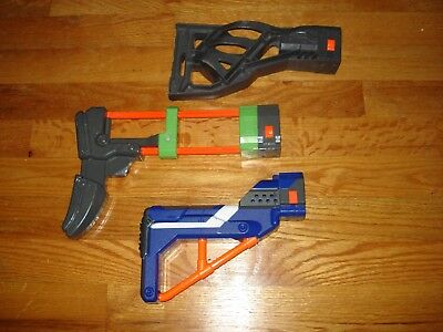 Lot of 3 Nerf Gun Shoulder Stocks Gray Green Blue