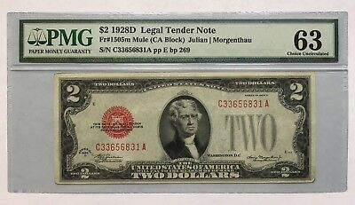 1928D $2 Mule Legal Tender, Us Note, Pmg Choice Uncirculated 63 Banknote