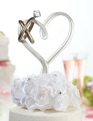 Heart with 2 Gold Rings Wedding Cake Pick Cake Topper