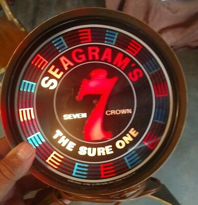 Rare Vintage Seagrams 7 Bar Light Up Spinning Sign Advertising ! Look !