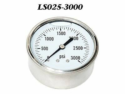 "New Hydraulic Liquid Filled Pressure Gauge 0-3000 PSI 1/4"" NPT Center Back Mount"