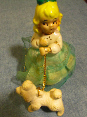 Vintage Girl with Poodle on a Chain Figurine Unmarked - Fabric Skirt