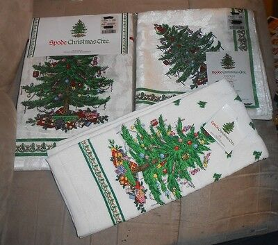 "Set of 3 Spode Christmas Tree Linens (Towel, 4 Napkins, Tablecloth 52""x70"") NEW"