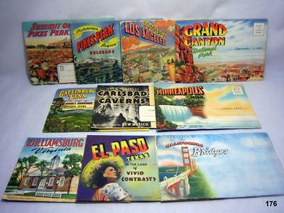 Lot of 10 Scenic USA Accordion Style Post Cards - 1940's