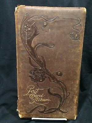 Antique Art Nouveau Postcard Album (Empty) 30+ Pages Large Format