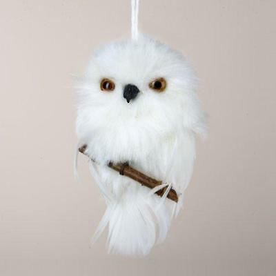 """4"""" Tell a Story White Snowy Owl Perched on Branch Christmas Ornament"""