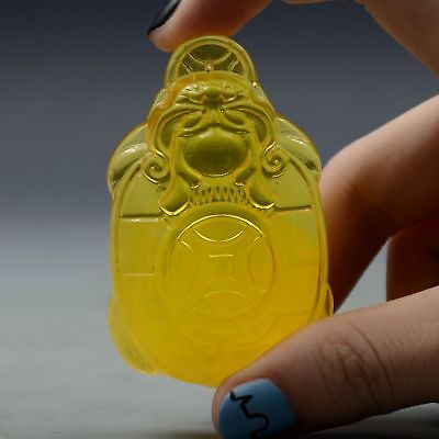 27.4g100% Natural Amber Beeswax Baltic Hand-carved Pocket & Money Statue Pendant
