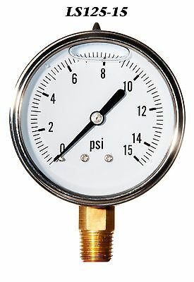 New Hydraulic Liquid Filled Pressure Gauge 0-15 PSI