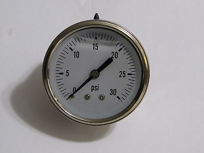 "New Hydraulic Liquid Filled Pressure Gauge 0-30 PSI 1/4"" NPT Center Back Mount"