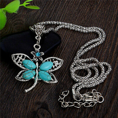 Boho Bohemian Vintage Butterfly Turquoise Stone Pendnat Lady's Chain Necklace