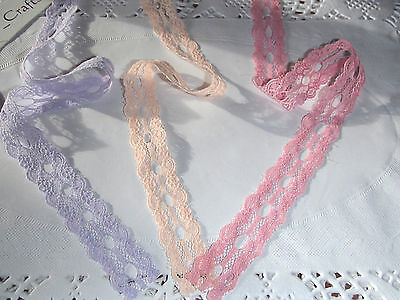 15 metre pack Eyelet/knitting in/insertion lace pink/lilac/peach 22 mm wide