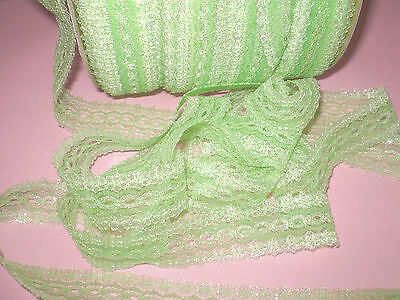 """Knittingin/coathanger/Eyelet lace 5 metres x 3.5 wide """"Green Opal"""" colour"""