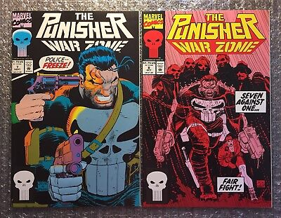 Punisher War Zone #7 & #8 - CLASSIC STORYLINES - 1992 Marvel Modern Age LOT!