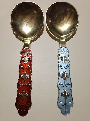 Norwegian Set 2 Almond Enameled Spoons Jacob Tostrup Sterling gold wash Norway