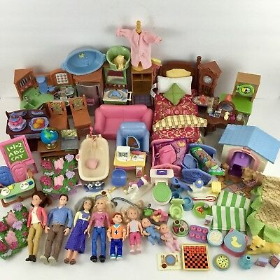 80+ pc FISHER PRICE LOVING FAMILY Dollhouse Furniture Dolls Accessories Lot