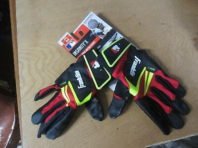 FRANKLIN INSANITY X black red Leather ADULT baseball BATTING GLOVES S M or XL