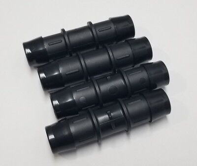 "(4) Four 3/4"" Tube Hose Straight Black Nylon Fitting Couplers"