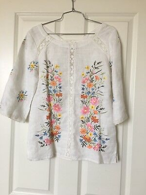 National Embroidered blouse, casual/Dressy, Size S 100% linen