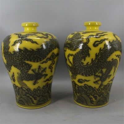 Chinese archaize antique hand make A pair of ink color dragon vase