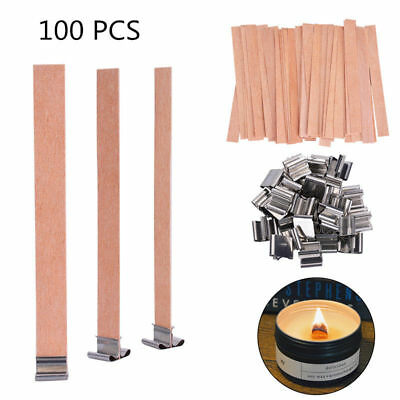 100X Wooden Candle Wick Core With Sustainer Tabs DIY Candle Making Supplies