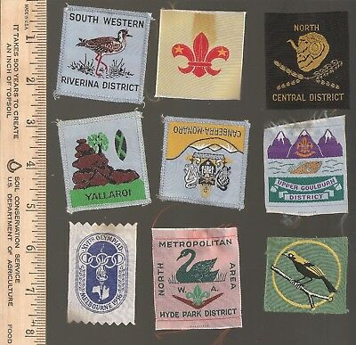 B10) Scouts Australia - late 1950s early 60s - lot of 9 districts
