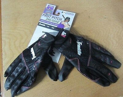 new FRANKLIN Fast Pitch 2nd-Skinz SOFTBALL black BATTING GLOVES Womens M or L