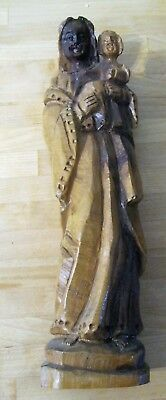 Vintage Carved Wood Santo A Virgin Mary Holding Young Jesus , Olive Wood
