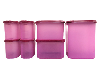 Tupperware Modular Mates Oval Square Pantry Airtight Container Rhubarb Set of 7