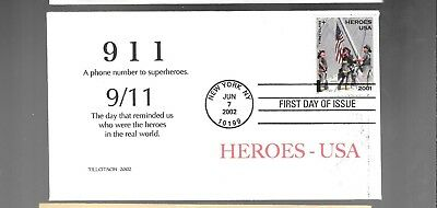 Us Fdc First Day Cover # B2 Heroes Of 911  2001 2002