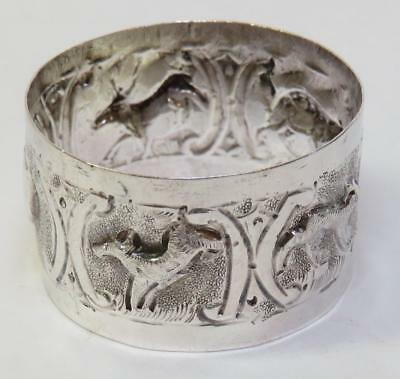 Old Hand Chased Silver Napkin Ring w Animals Deer etc - Asian? - 90.S Hallmark
