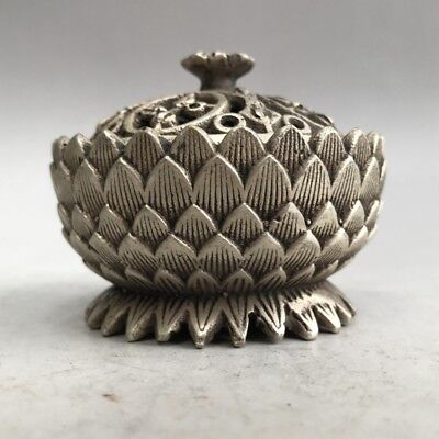 Rare old Chinese Tibet silver censer pure hand-carved lotus image